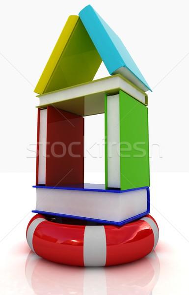 Boeken huis reddingslijn witte gebouw zee Stockfoto © Guru3D
