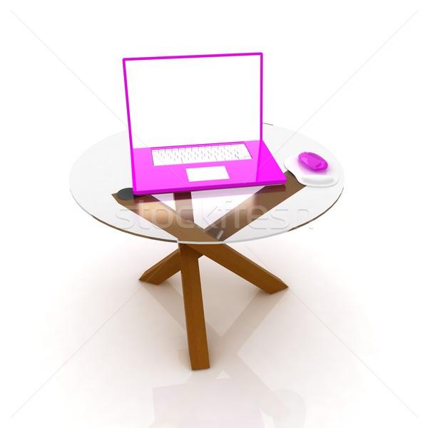 Roze laptop exclusief tabel witte kantoor Stockfoto © Guru3D