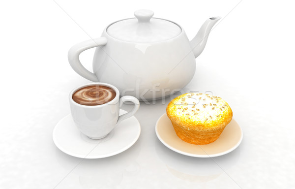 Appetizing pie and cup of coffee Stock photo © Guru3D