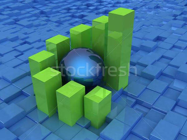 Diagram gömb absztrakt városi háttér zöld Stock fotó © Guru3D