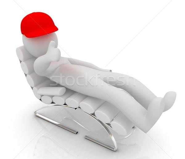 3D biały człowiek krzesło kciuk w górę biały Zdjęcia stock © Guru3D