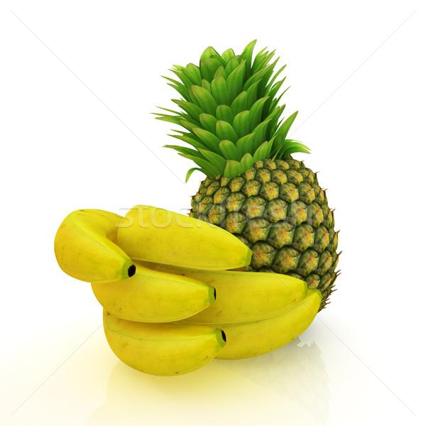 Ananas bananen witte natuur vruchten groene Stockfoto © Guru3D