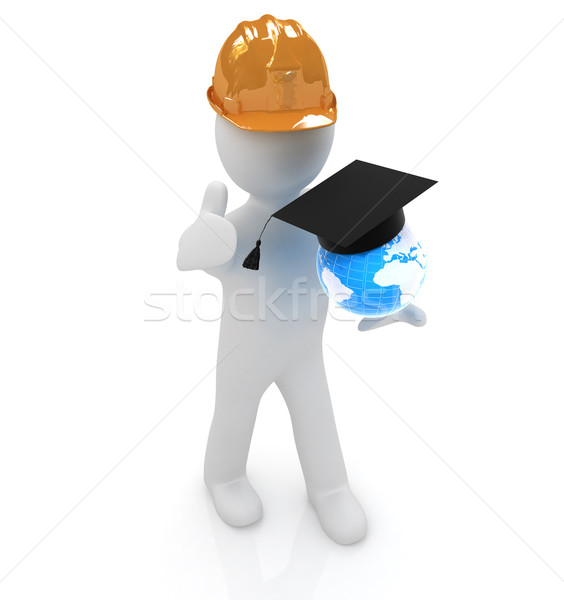3d man in a hard hat with thumb up presents the best global tech Stock photo © Guru3D