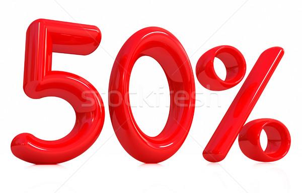 ストックフォト: 3D · 赤 · 50 · 50 · パーセント · 白