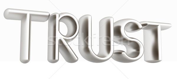 3D metaal tekst vertrouwen witte business Stockfoto © Guru3D