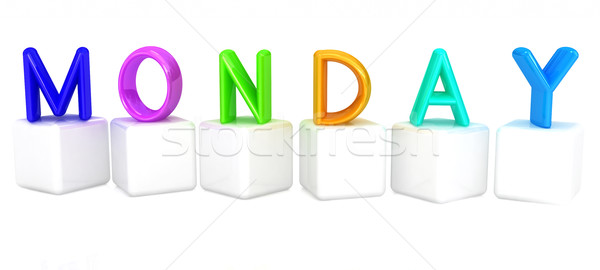 Colorful 3d letters 'Monday' on white cubes Stock photo © Guru3D