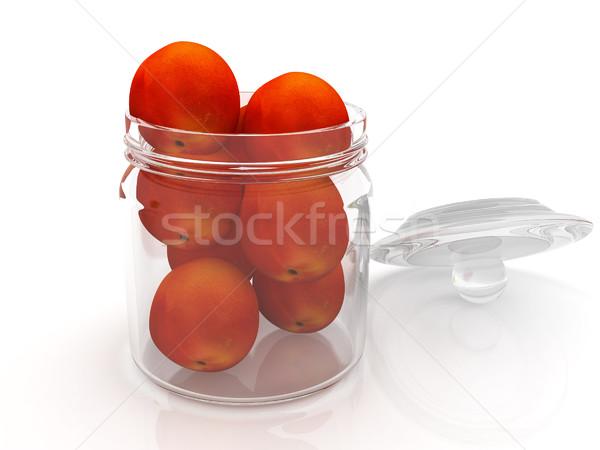 Stockfoto: Jar · perziken · witte · gezondheid · bank · najaar