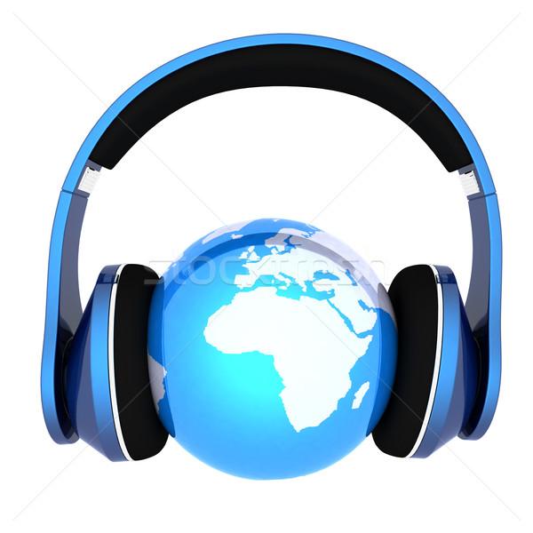 Aarde hoofdtelefoon wereld muziek geïsoleerd witte Stockfoto © Guru3D