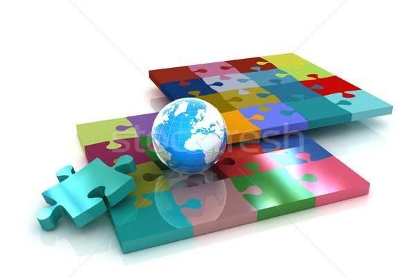 ストックフォト: 地球 · 白 · テクスチャ · 地図 · 世界 · 芸術