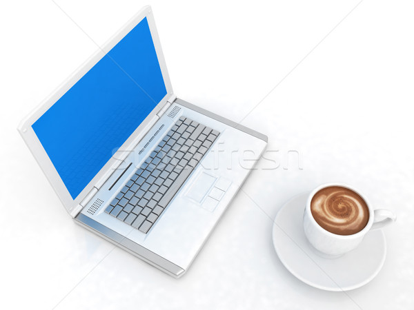 3D beker laptop witte business werk Stockfoto © Guru3D