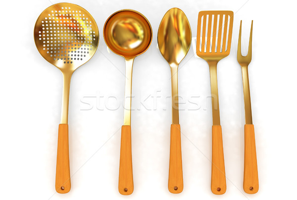 Gold cutlery Stock photo © Guru3D