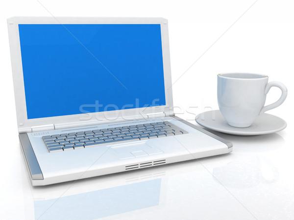 3D fincan dizüstü bilgisayar beyaz iş çalışmak Stok fotoğraf © Guru3D