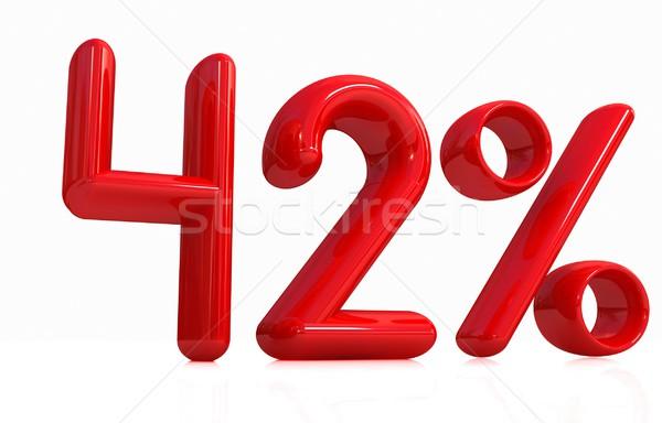 3D czerwony czterdzieści dwa procent biały Zdjęcia stock © Guru3D