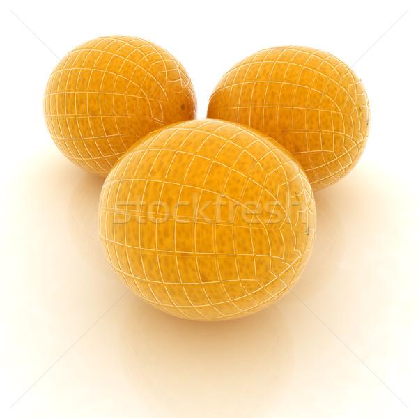 Glanzend rijp sinaasappelen witte achtergrond oranje Stockfoto © Guru3D