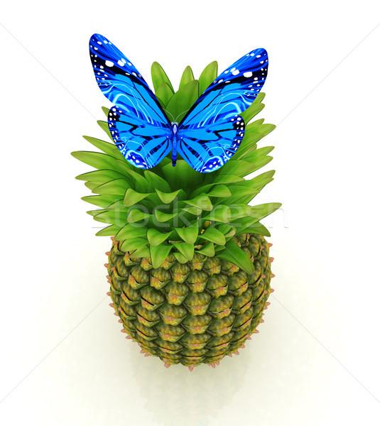 Blauw ananas witte voedsel vlinder natuur Stockfoto © Guru3D