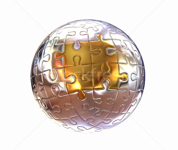 Puzzel abstract bol witte business kaart Stockfoto © Guru3D