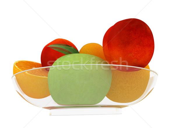 Citrus appel plaat witte blad vruchten Stockfoto © Guru3D