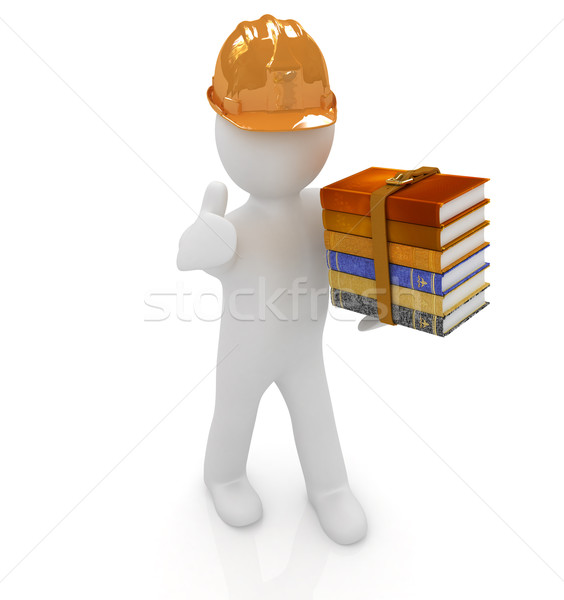 3d man in a hard hat with thumb up presents the best technical l Stock photo © Guru3D