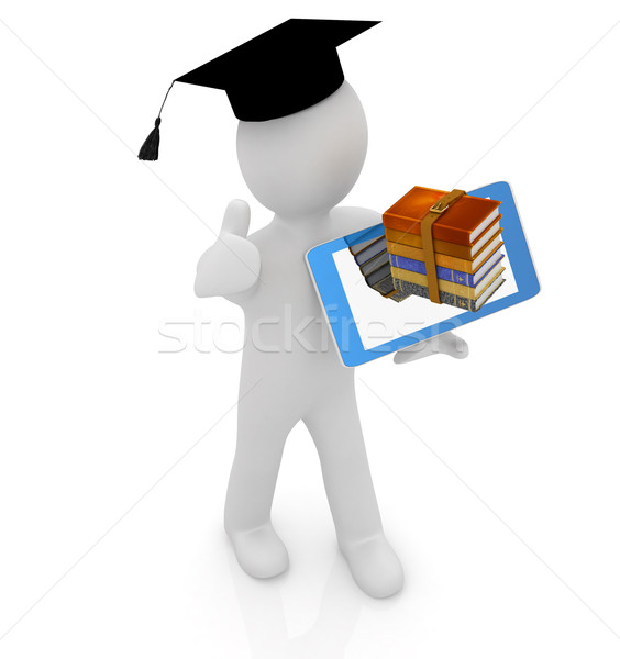 3d white man in a grad hat with thumb up,books and tablet pc - b Stock photo © Guru3D