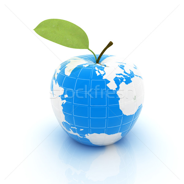 Stock foto: Apfel · Erde · weiß · Karte · Natur · Obst