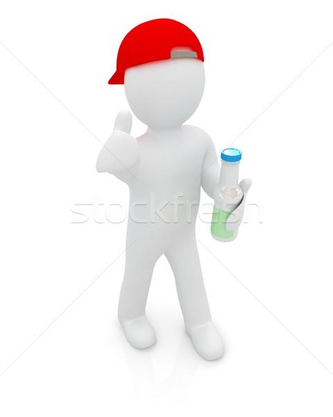 3d man with plastic milk products bottles set  Stock photo © Guru3D