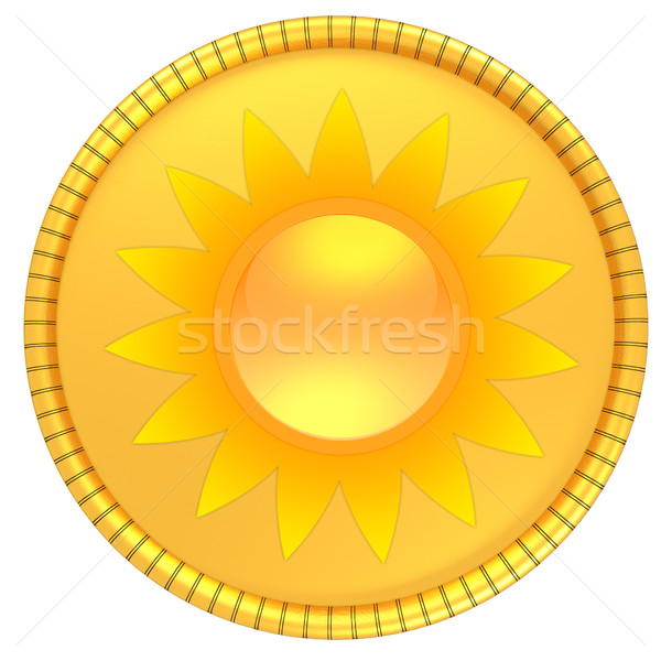 Moeda de ouro sol ilustração isolado branco 3d render Foto stock © Guru3D