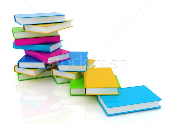 Színes igazi könyvek fehér papír iskola Stock fotó © Guru3D