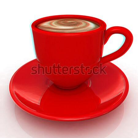 Mok witte koffie tijd dienst beker Stockfoto © Guru3D
