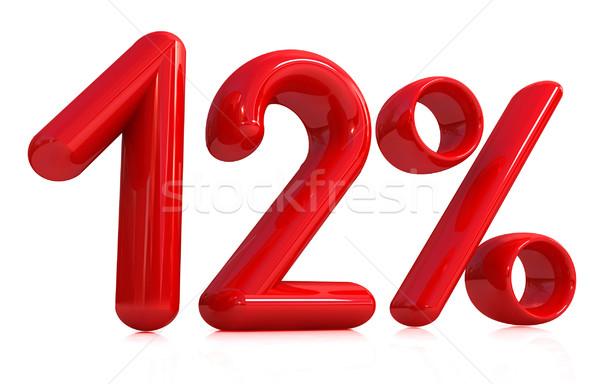 3D Rood 12 twaalf procent witte Stockfoto © Guru3D