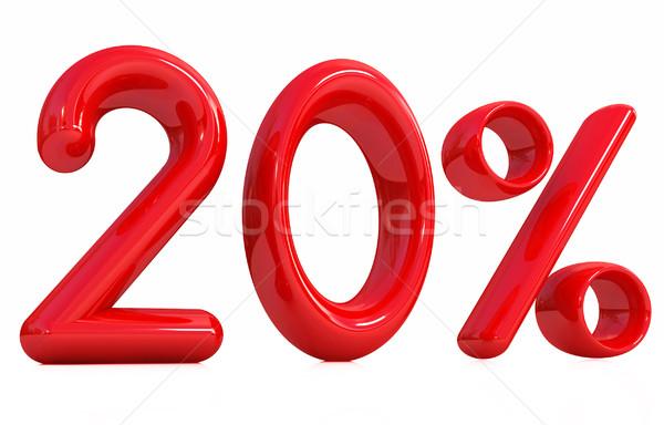 3D 赤 20 20 パーセント 白 ストックフォト © Guru3D