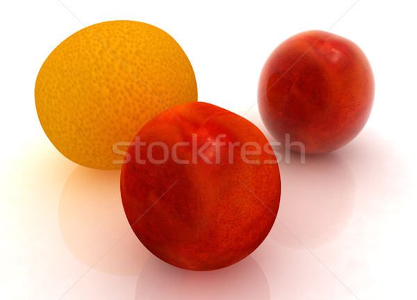 Vers perziken mandarijn- witte voedsel achtergrond Stockfoto © Guru3D
