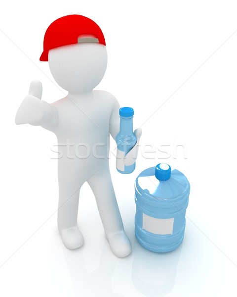 3d man with a water bottle with clean blue water Stock photo © Guru3D
