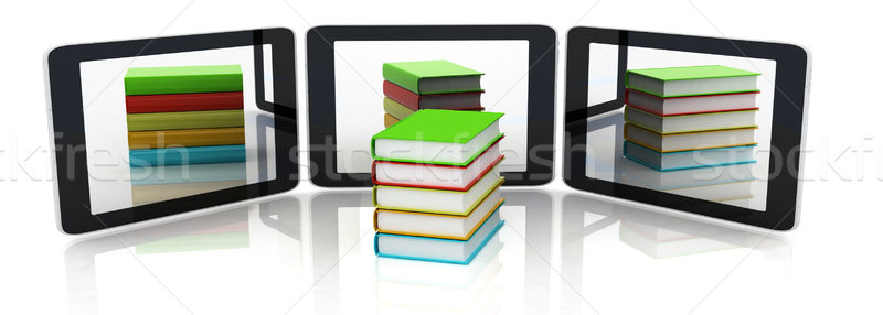 phones and colorful real books on white background Stock photo © Guru3D