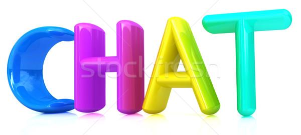Kleurrijk 3d tekst chat witte ontwerp teken Stockfoto © Guru3D
