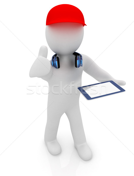 3d white man in a red peaked cap with thumb up, tablet pc and he Stock photo © Guru3D