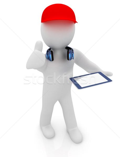 3D biały człowiek czerwony cap kciuk w górę Zdjęcia stock © Guru3D