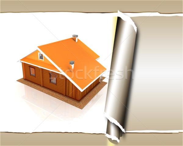 Houten reizen huis hotel gescheurd papier papier Stockfoto © Guru3D