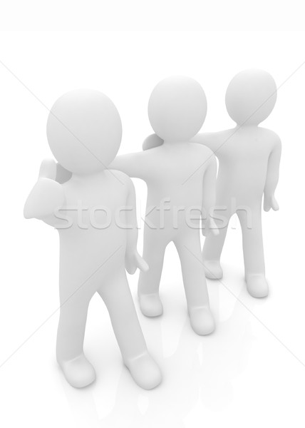 3d man with thumb up and 3d mans stand arms around each other  Stock photo © Guru3D