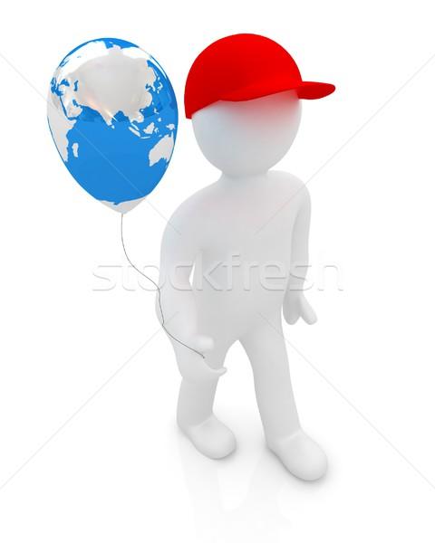 3d man ballon aarde globale vakantie witte Stockfoto © Guru3D