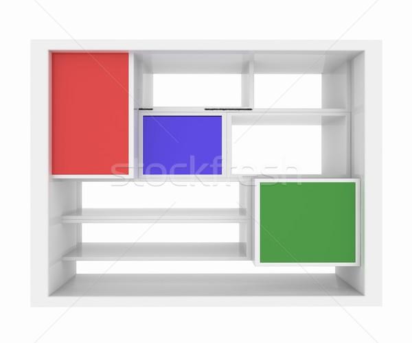3D isolado vazio colorido prateleira de livros branco Foto stock © Guru3D