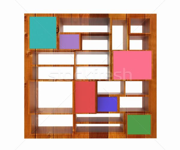 3D odizolowany pusty drewna kolorowy półka na książki Zdjęcia stock © Guru3D