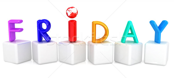 Colorful 3d letters 'Friday' on white cubes Stock photo © Guru3D