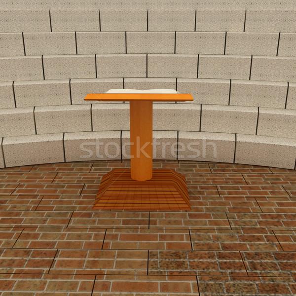 Stockfoto: Abstract · futuristische · interieur · baksteen · scène · muur