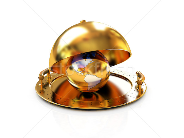 Earth globe on glossy golden salver dish under a golden cover Stock photo © Guru3D