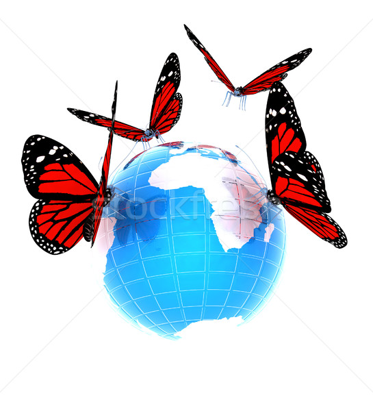 Red butterfly on a abstract blue earth  Stock photo © Guru3D