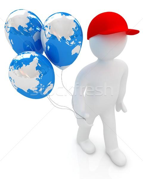 3d man ballonnen aarde globale vakantie witte Stockfoto © Guru3D