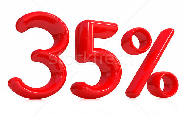 3D kırmızı otuz beş yüzde beyaz Stok fotoğraf © Guru3D