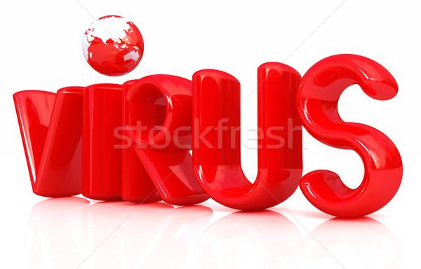 3D Rood tekst virus witte geneeskunde Stockfoto © Guru3D
