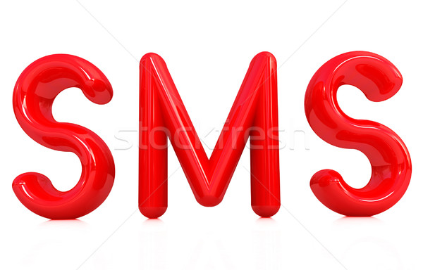 3D rouge texte sms blanche Photo stock © Guru3D