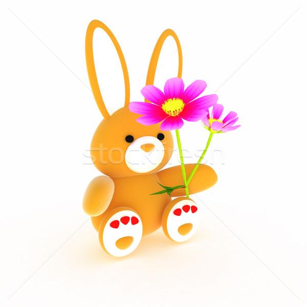 мягкой игрушку заяц мало красный сердцах Сток-фото © Guru3D
